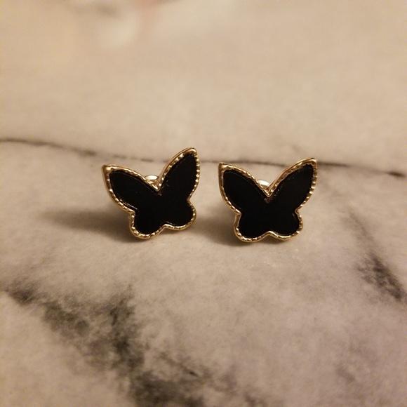 Jewelry - Elegant Black Butterfly Gold Earrings